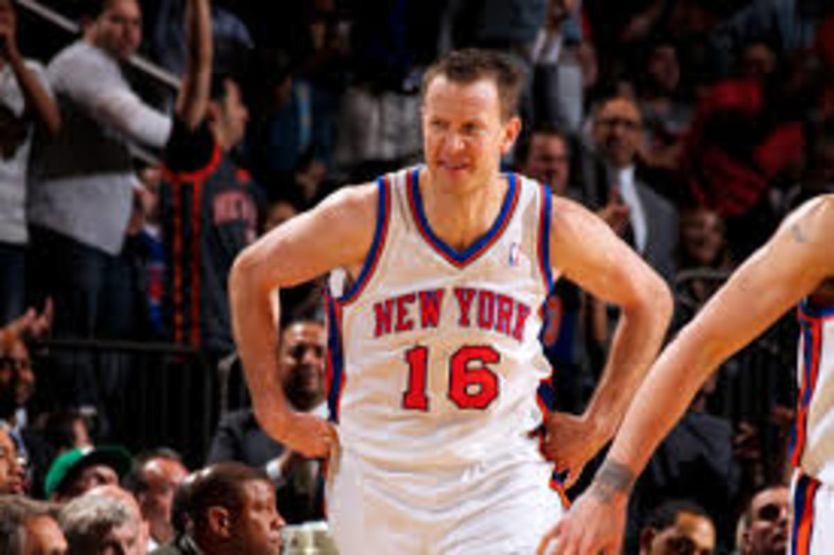 Steve Novak was a very underrated shooter during his time with the Knicks. He is seen here doing his signature championship belt celebration after dropping 25 points.