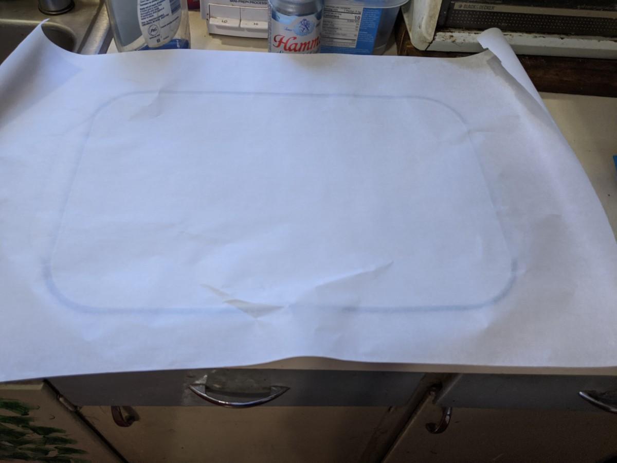 cut paper bigger than your dish