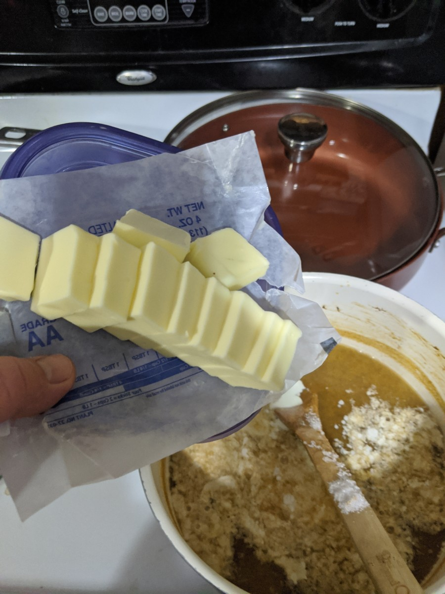 Cut stick of butter so when added to pan it will melt quickly