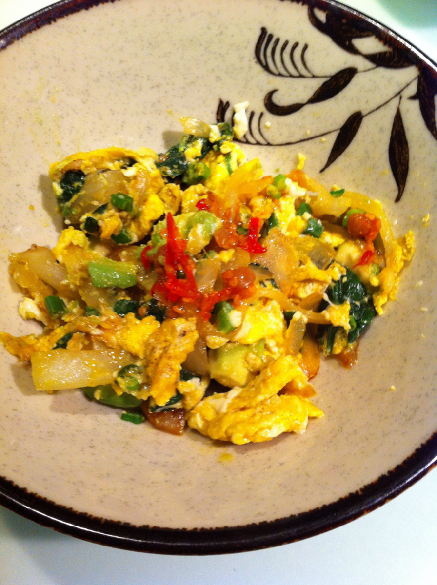 This is a delicious flavorful avocado scrambled omelet.