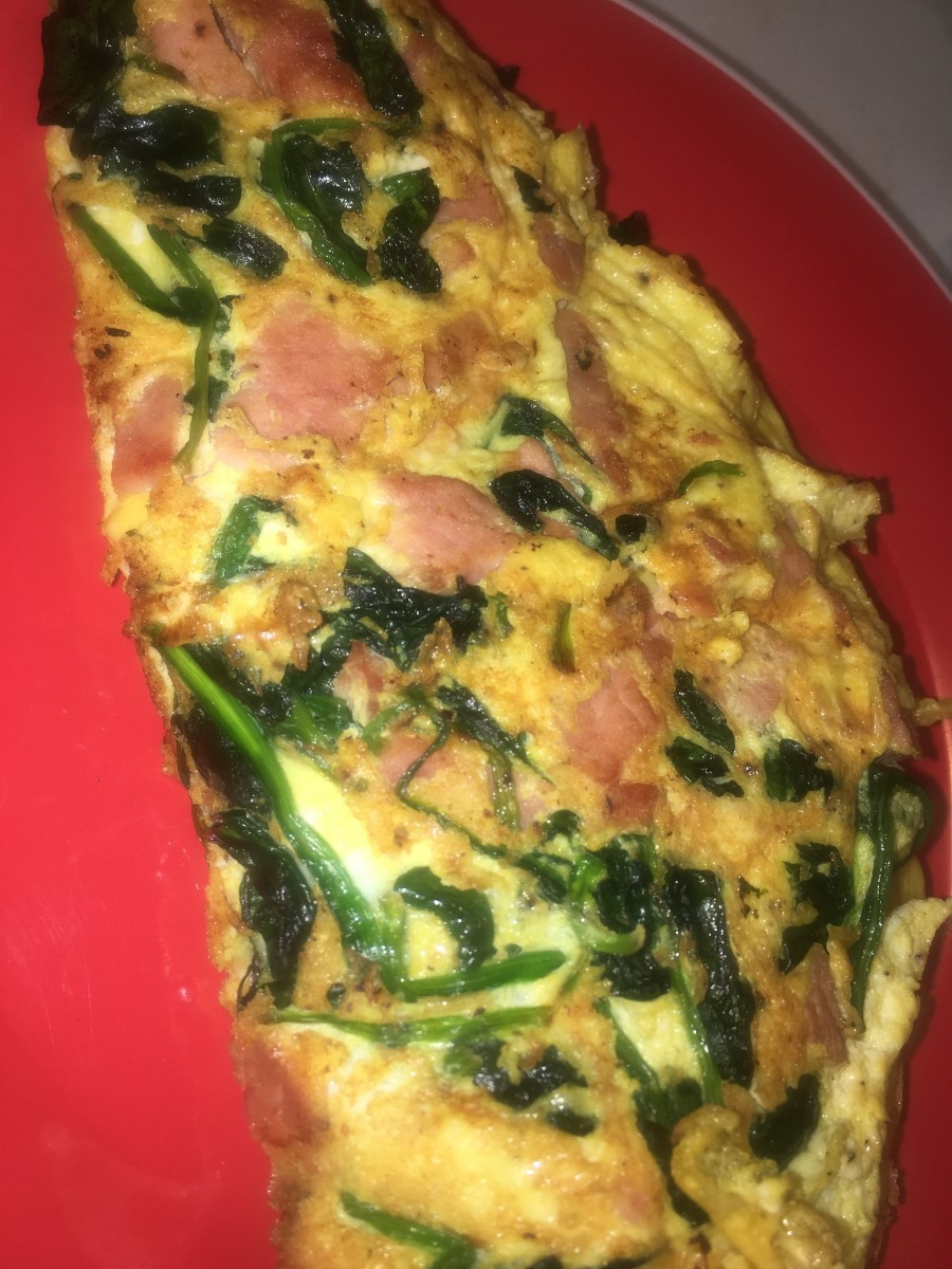 Spinach, egg, and cheese scrambled omelet..