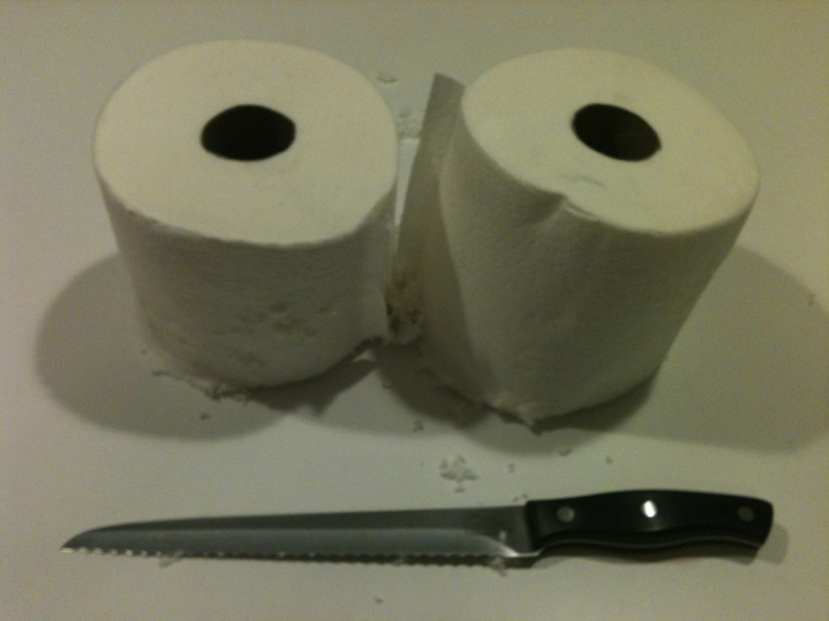 Paper towel roll cut in half for easy baby wipe recipe.