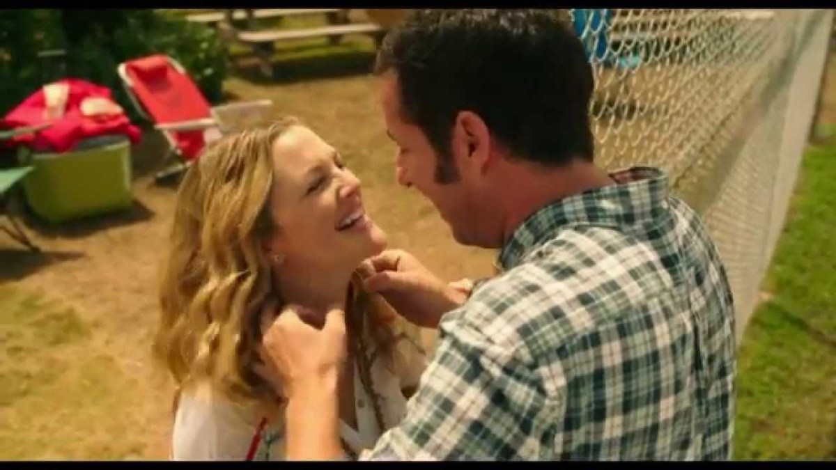 Actor Adam Sandler stars as the character Jim and actress Drew Barrymore stars as the character Lauren in Blended the movie.