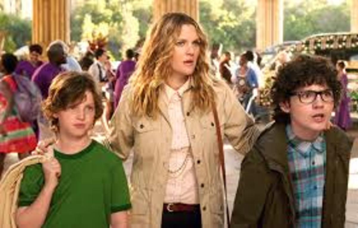Lauren (played by Drew Barrymore) and her kids in Blended the movie