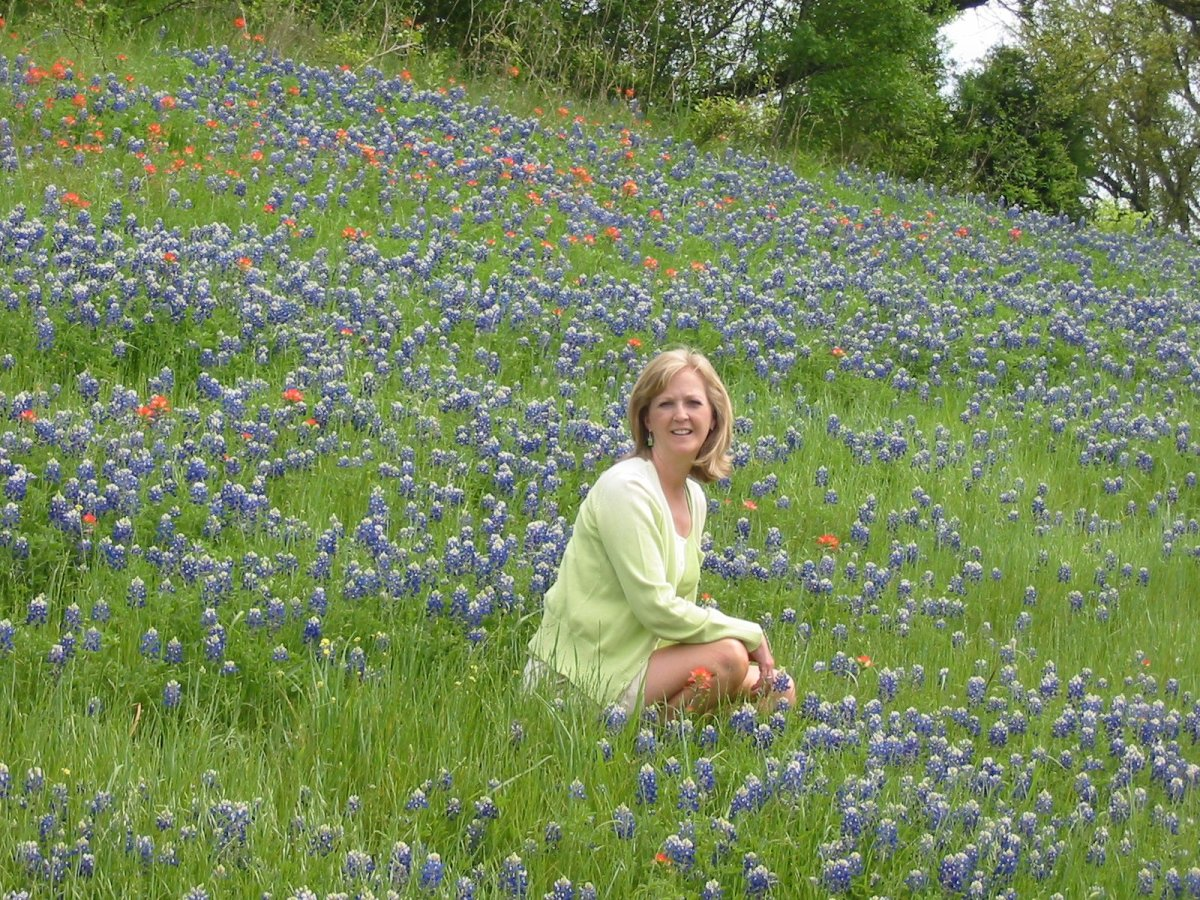 My dear friend in a field of Bluebonnets and Indian Paintbrush