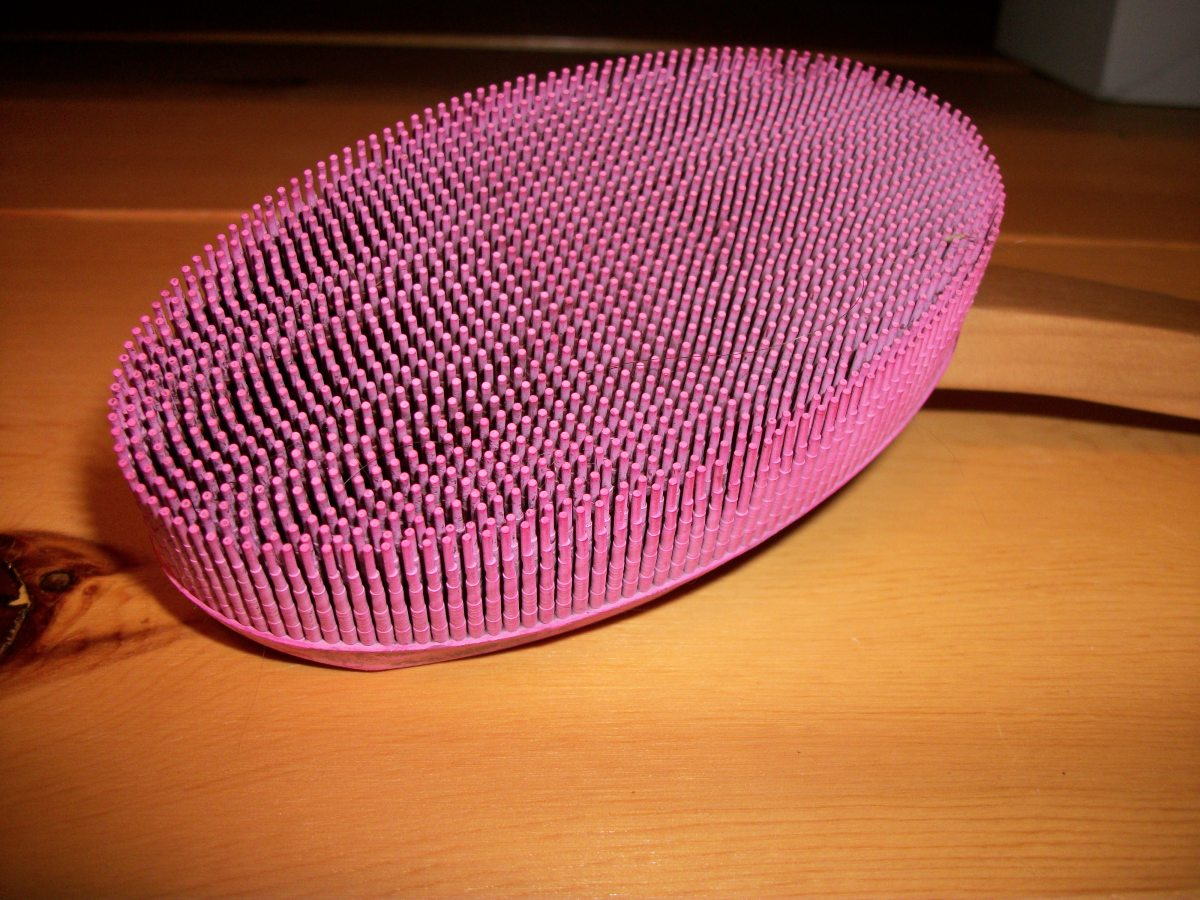 Pet brush with soft rubber bristles; personal photo