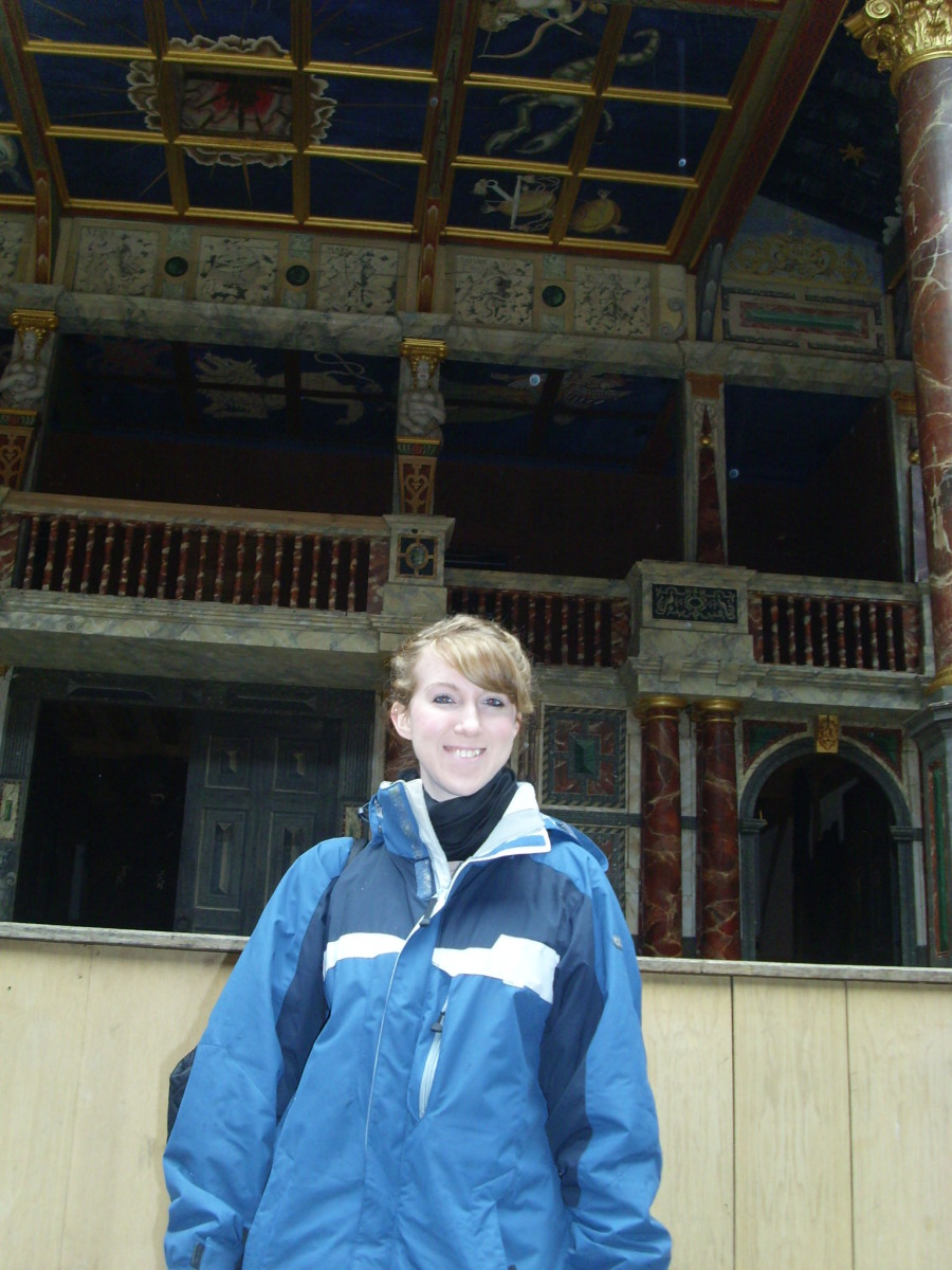 In front of the Globe theatre stage!