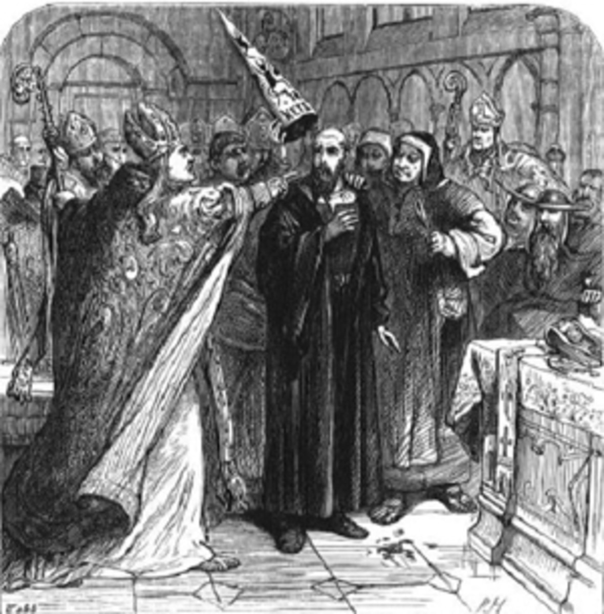 PUTTING THE DEVILS HAT ON JAN HUS AS HE PRAYS FOR HIS PERSECUTORS