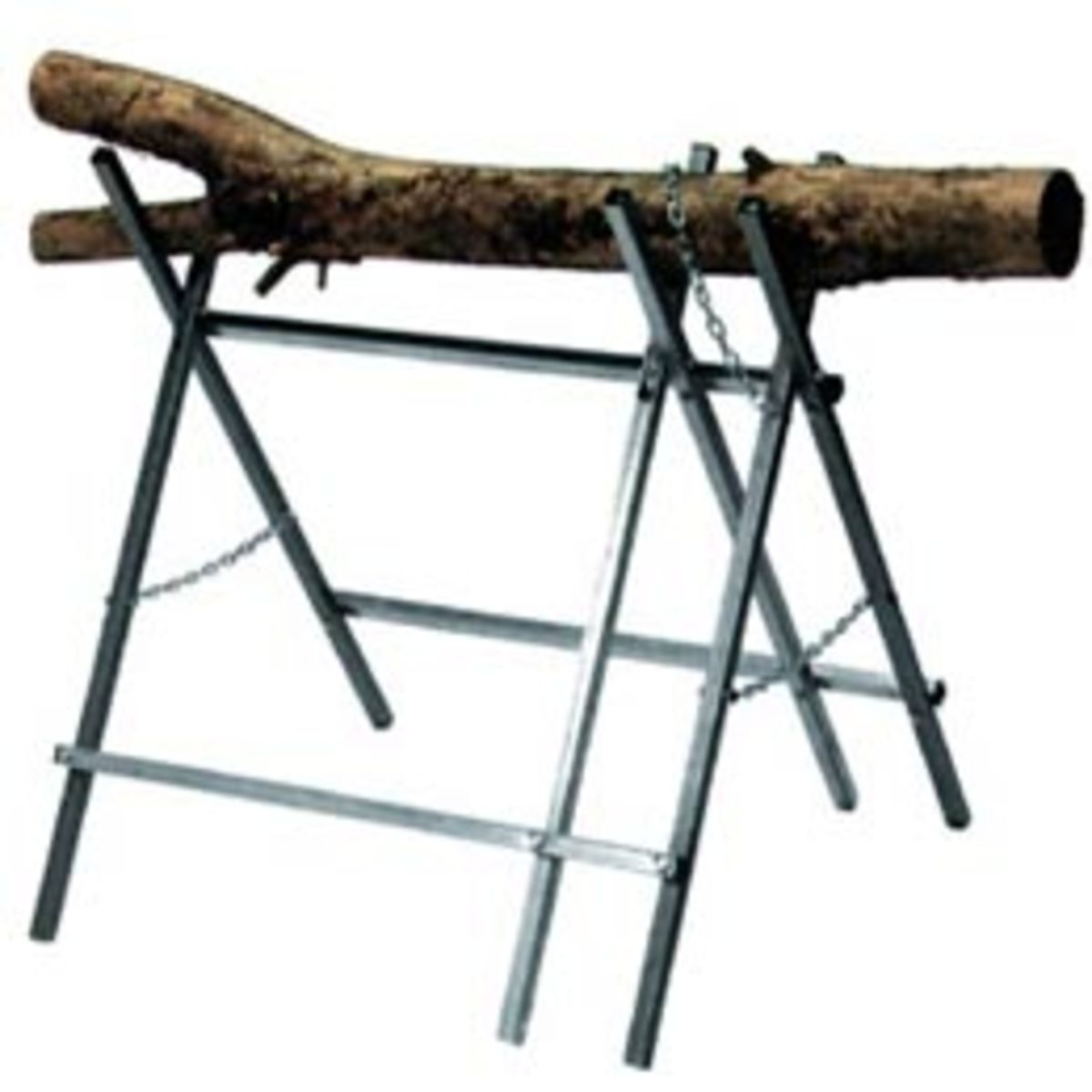Steel Sawhorse suitable for use with a Chainsaw