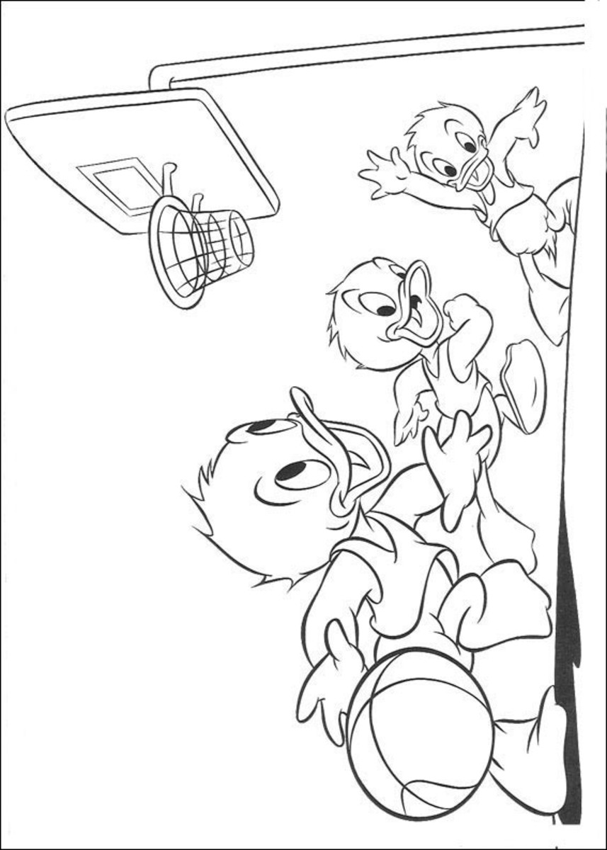 Donald Duck Kids Coloring Pages and Free Colouring Pictures to Print - Huey, Duey and Luey Duck