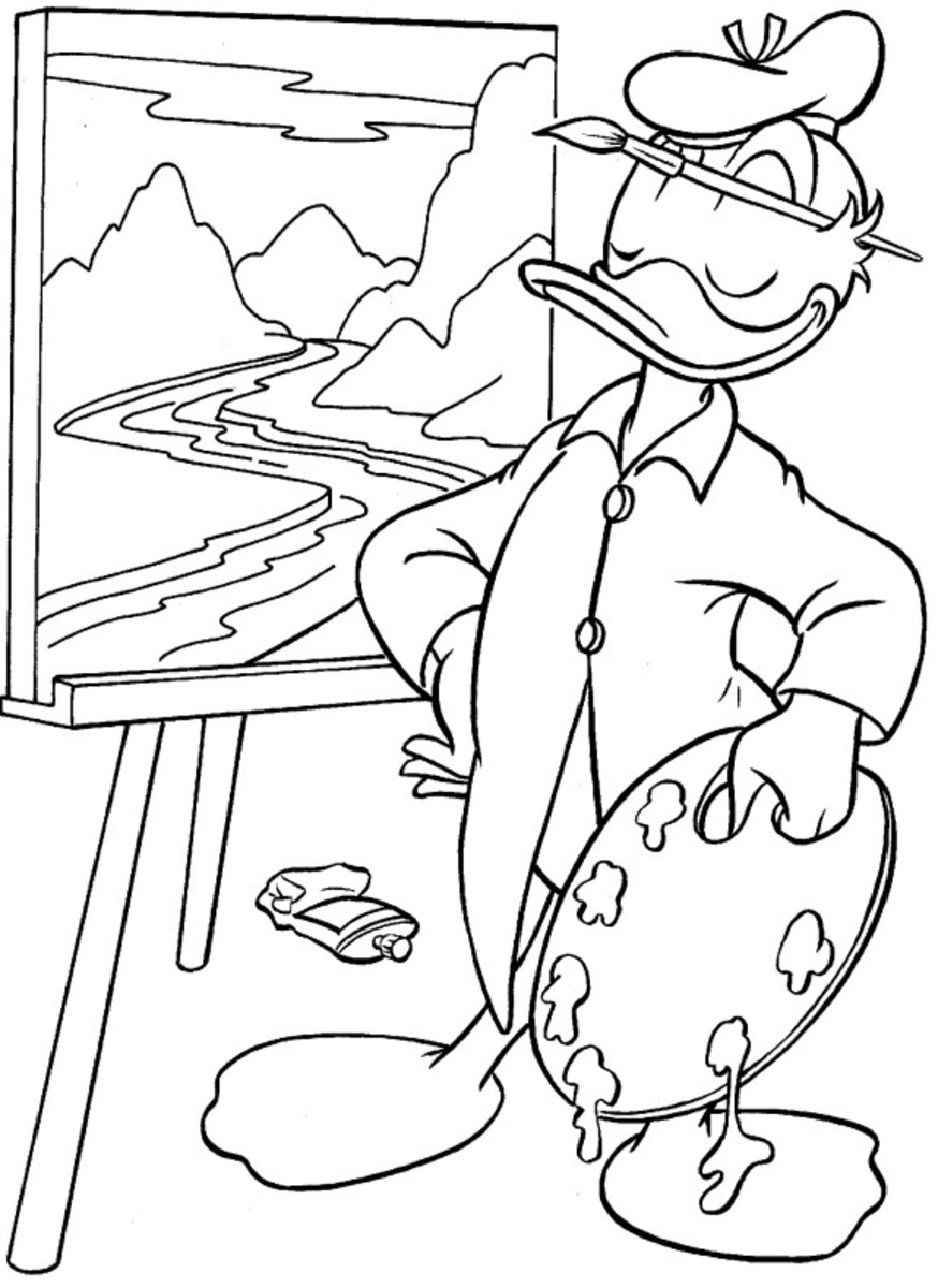 Donald Duck Kids Coloring Pages and Free Colouring Pictures to Print - Donald mcPainter
