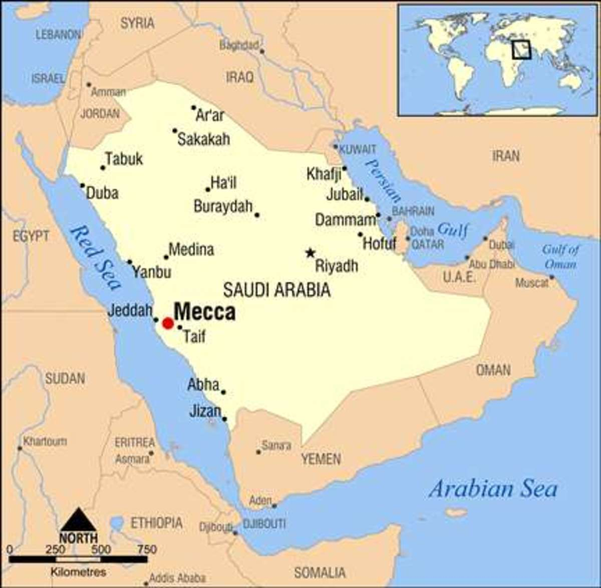 Map of Saudi Arabia with location of Mecca