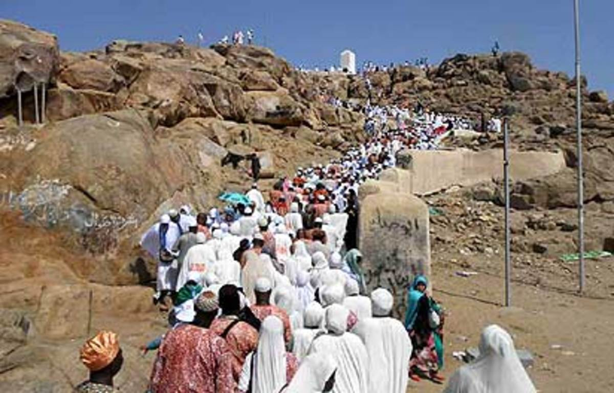 Ogun Pilgrims at Mount Jabalithaor one of the holy sites in Makkah