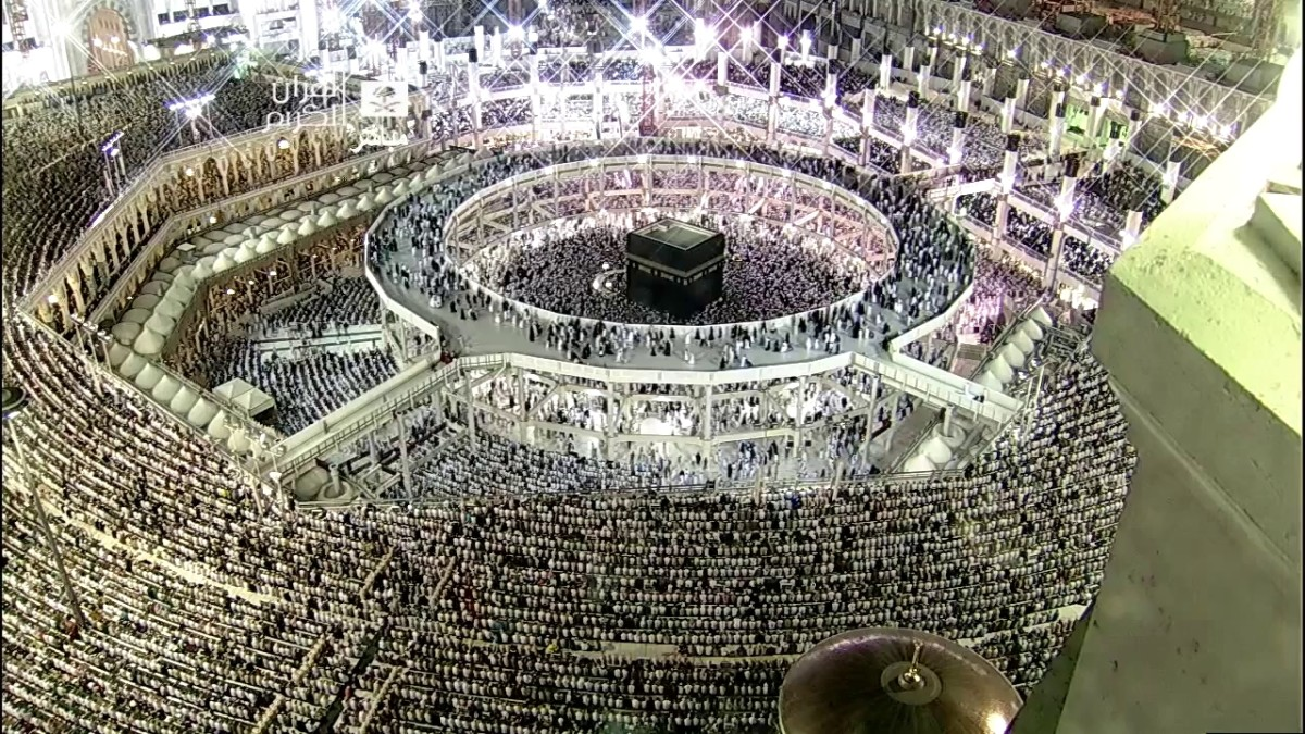 Millions of Muslims from all over the world in one place, Makkah, Saudi Arabia, carrying their pilgrim which happens once a year