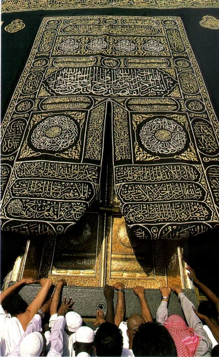 Golden doors of the Ka'ba under the gold embroidered cloth