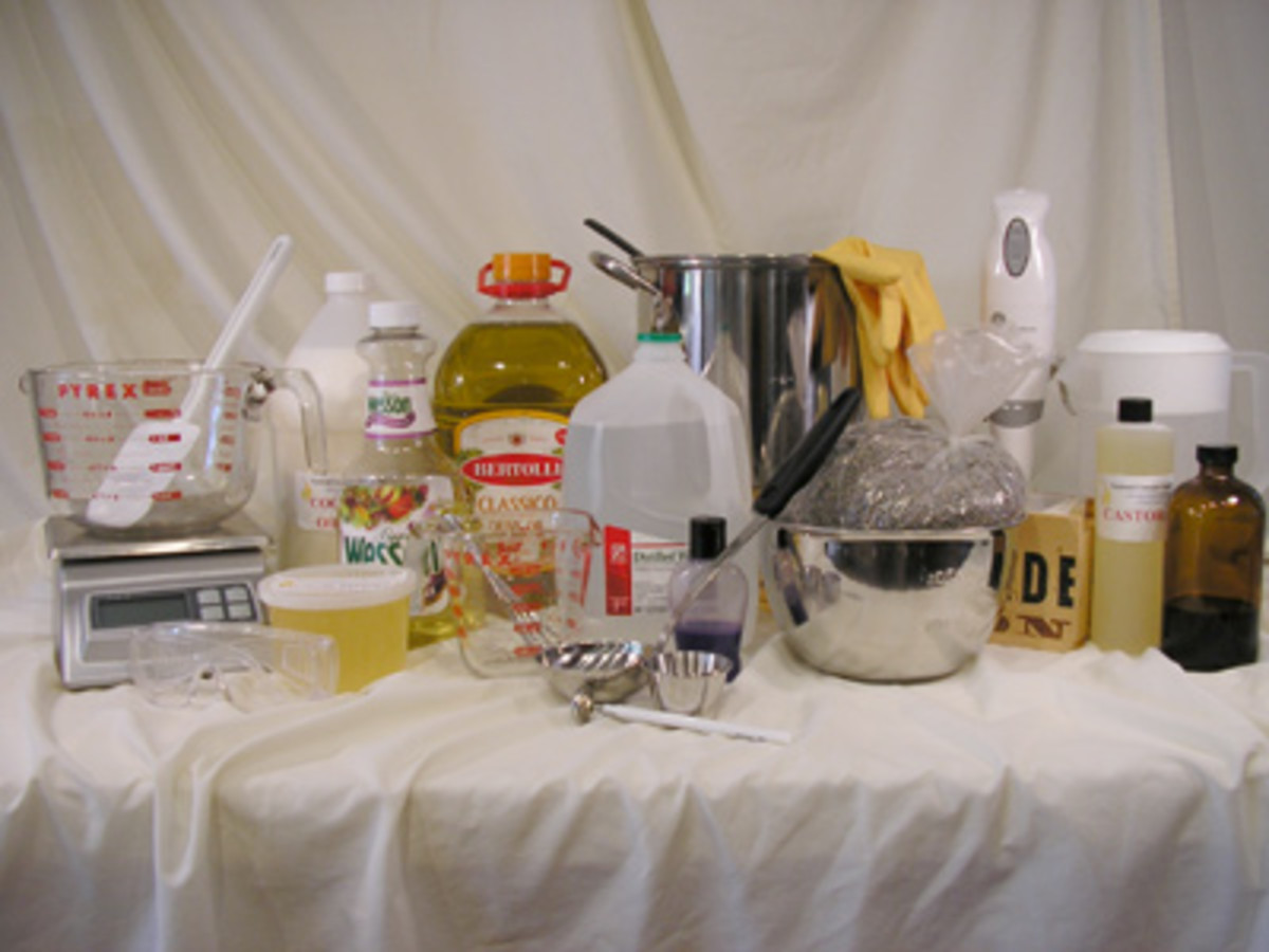 BASIC INGREDIENTS IN SOAP MAKING(Photo by David Fisher @ http://candleandsoap.about.com/)