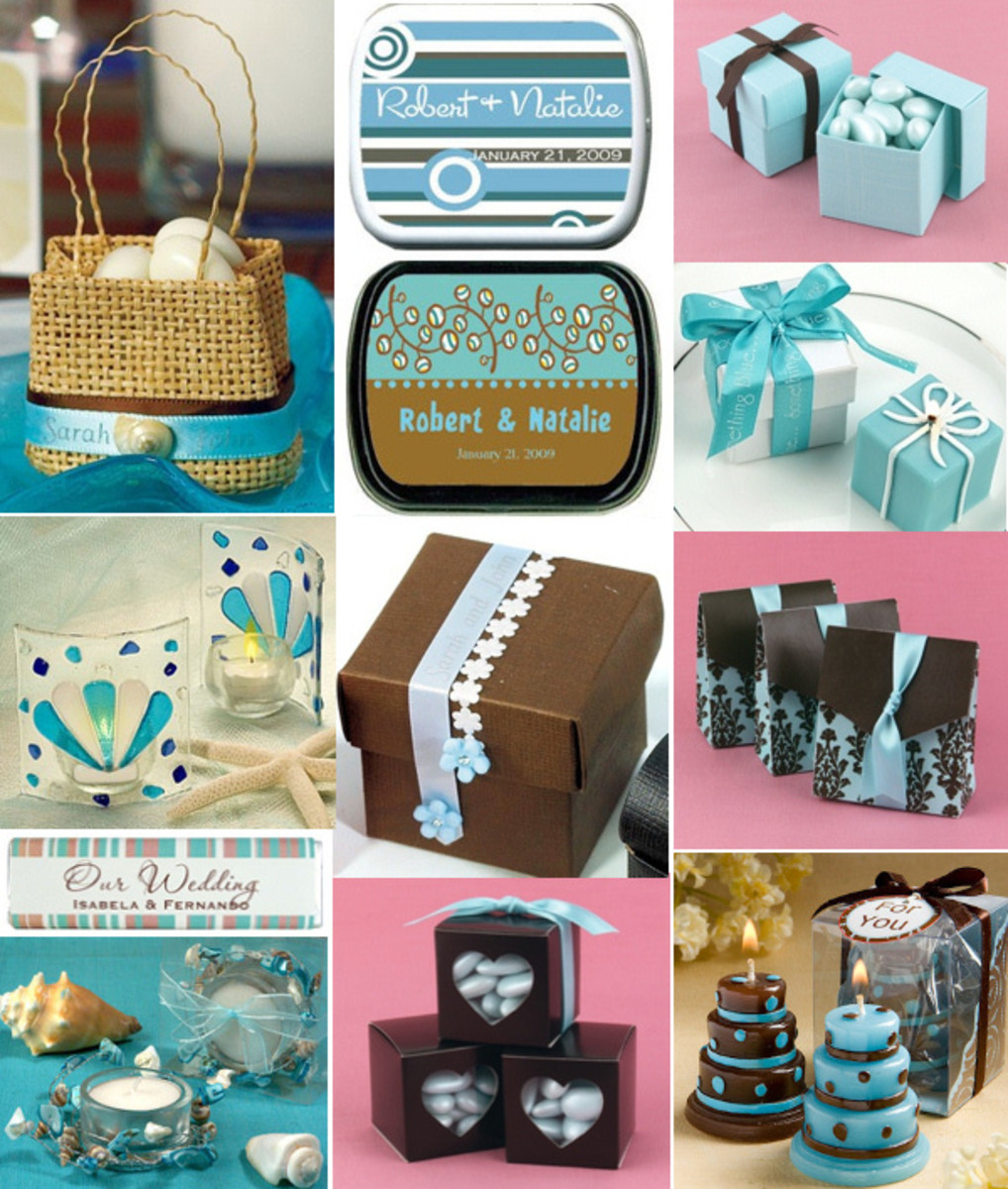 Chocolate Brown Tiffany Blue Favor Ideas Blue Brown Favors from Wedding