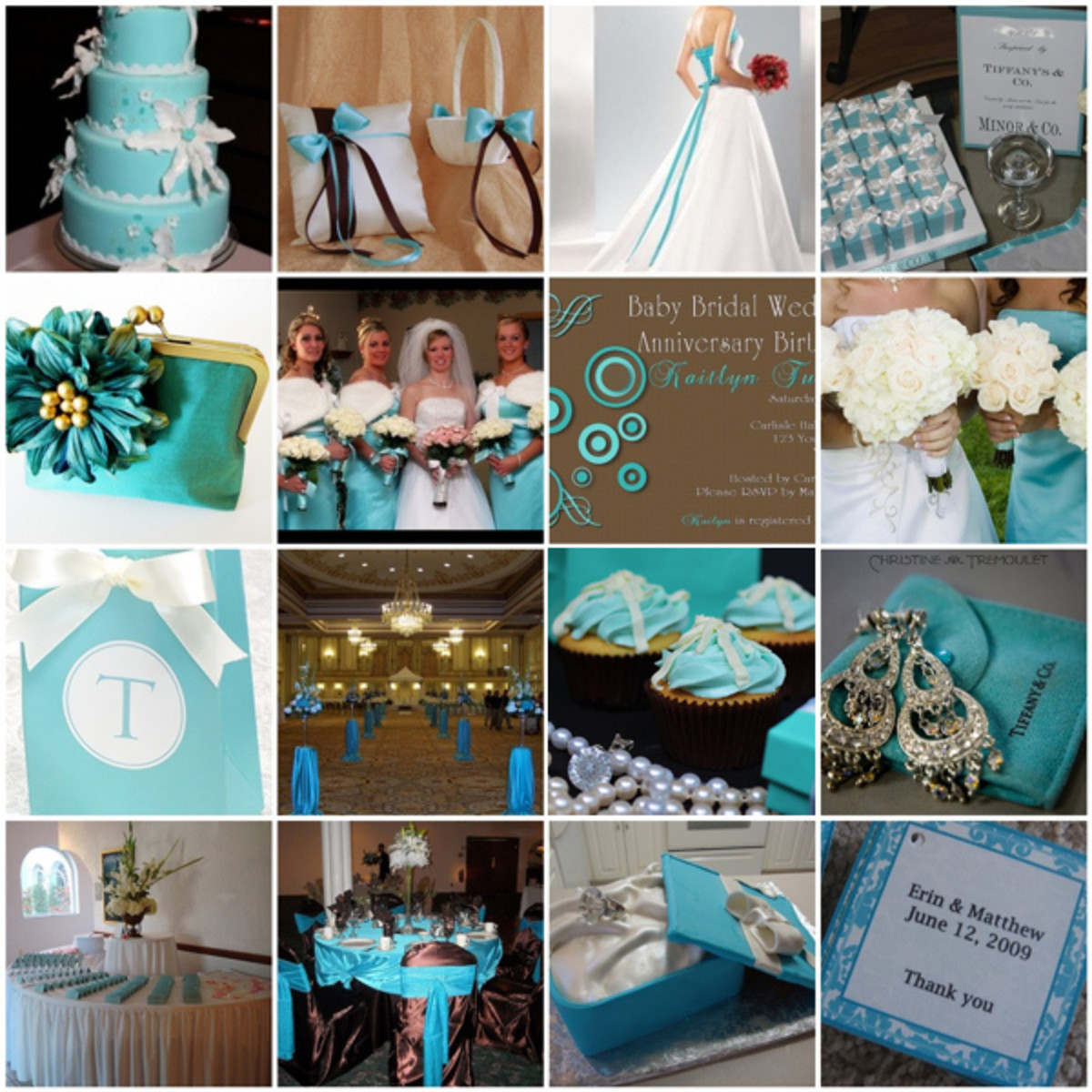 Chocolate Brown & Tiffany Blue Inspiration Board from Here Comes The Blog