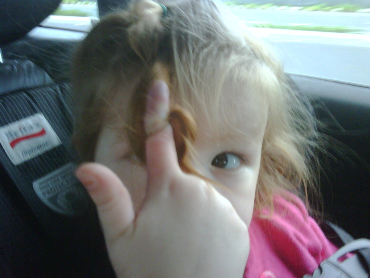 Once her finger is stuck, she pulls her hair out or breaks the hair.