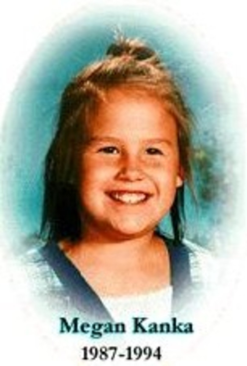 Megan Kanka, a seven year old girl lured into a house to play with a puppy by a convicted child molester who lived nearby.