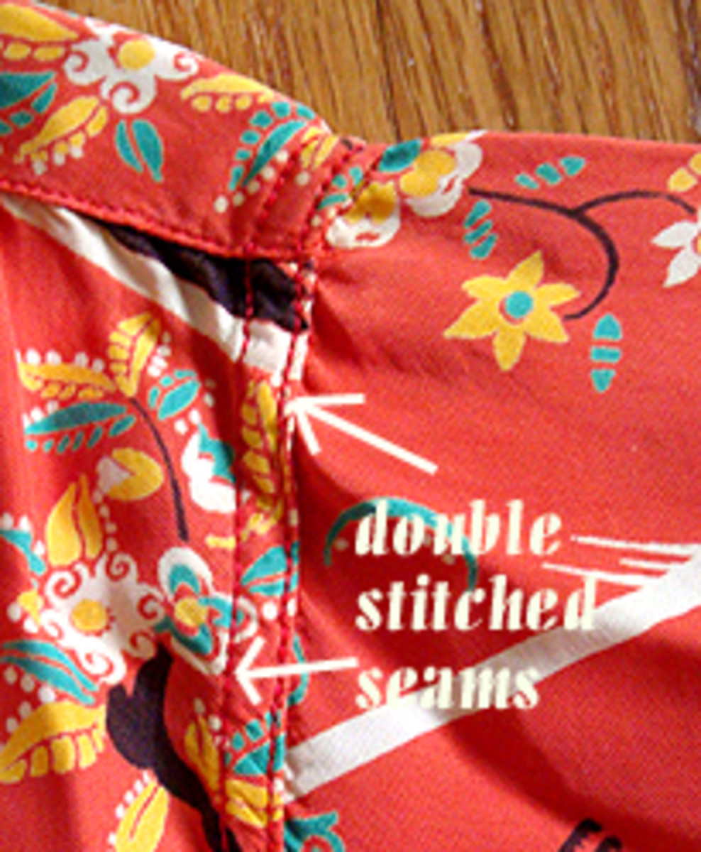 Generally, vintage shirts have two rows of stitching to join the seams.