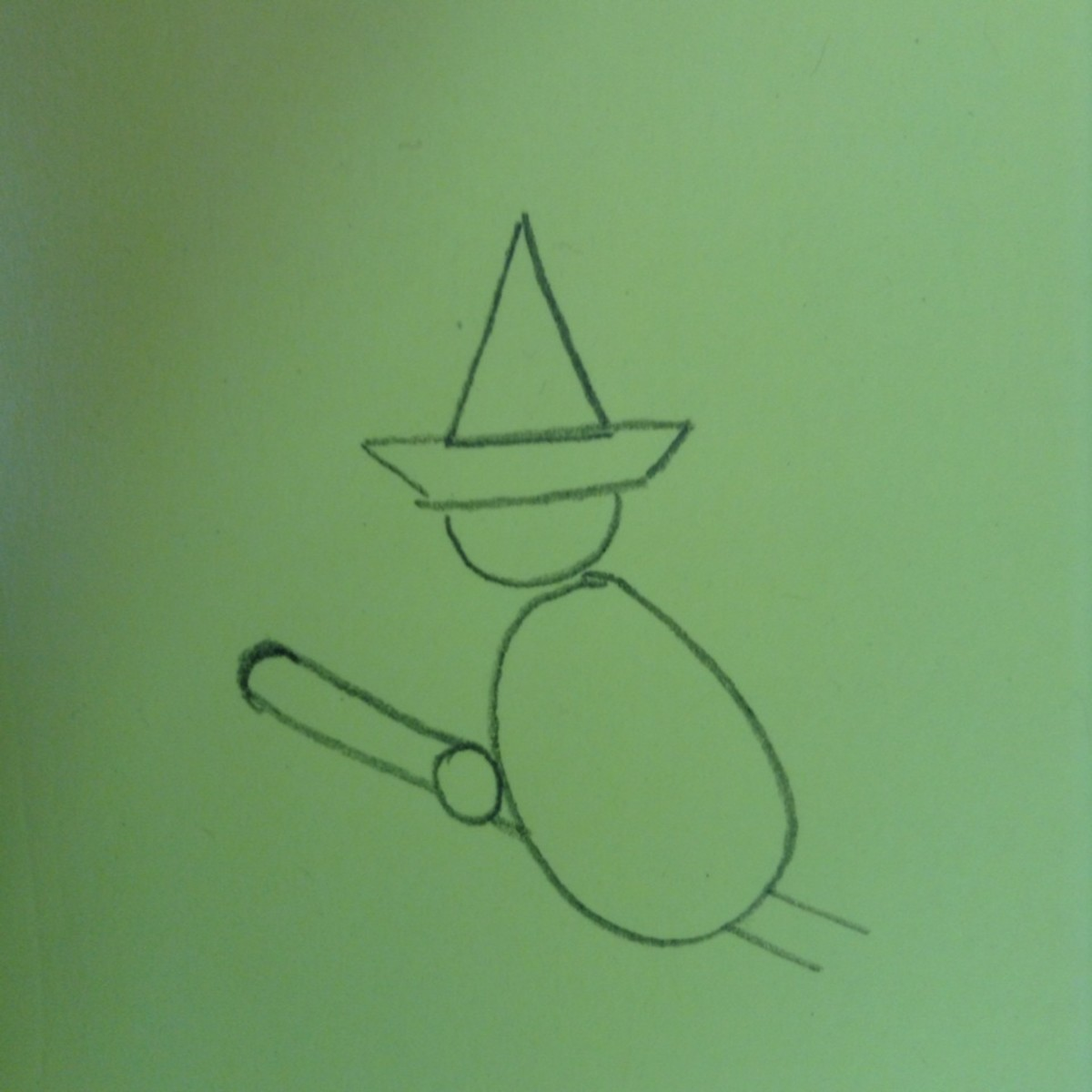 Start to draw her broom by drawing two diagonal lines past her body (you can draw them through her body and erase the lines later if that's easier).  Attach the two lines with a curve at the top.
