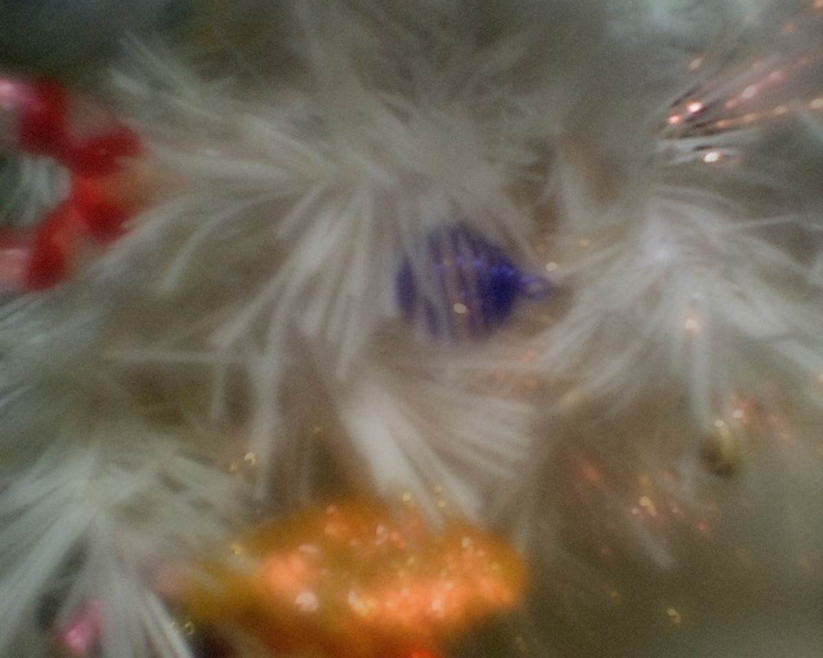 Blurry white Christmas tree