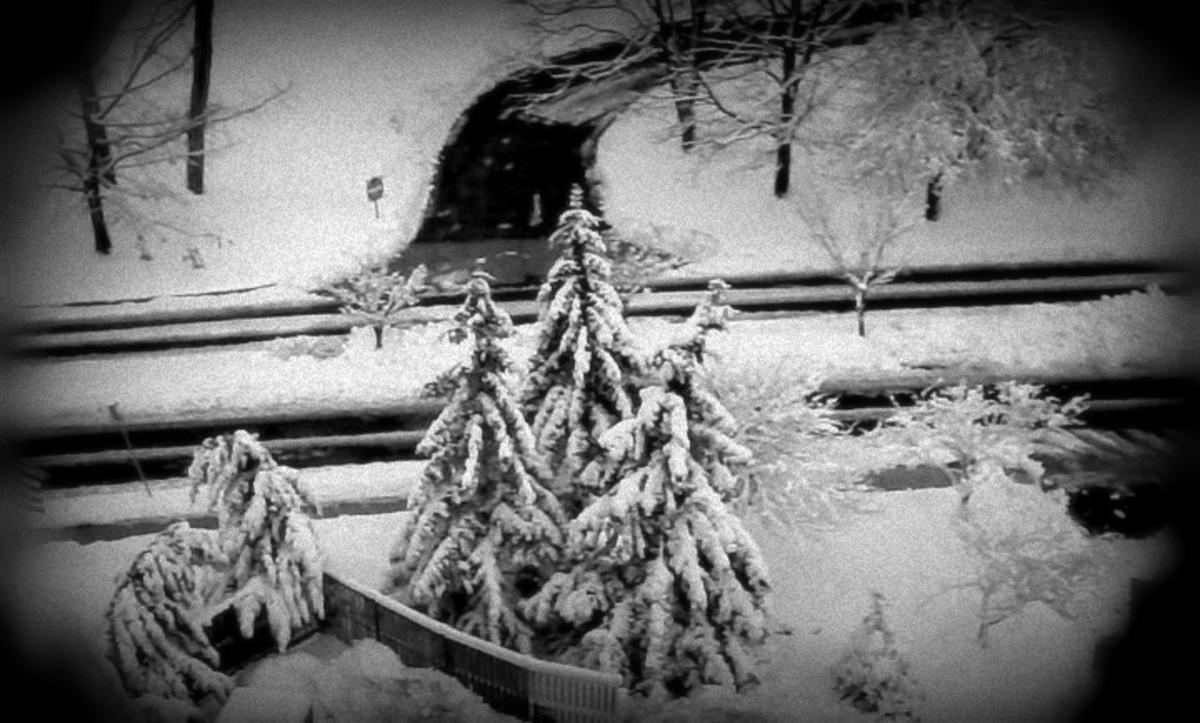 Winter scene with dark edges