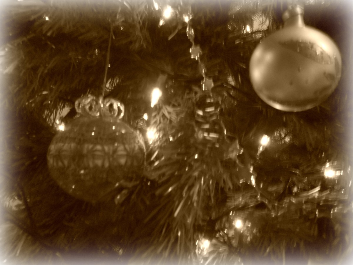 Christmas ornaments - sepia effect