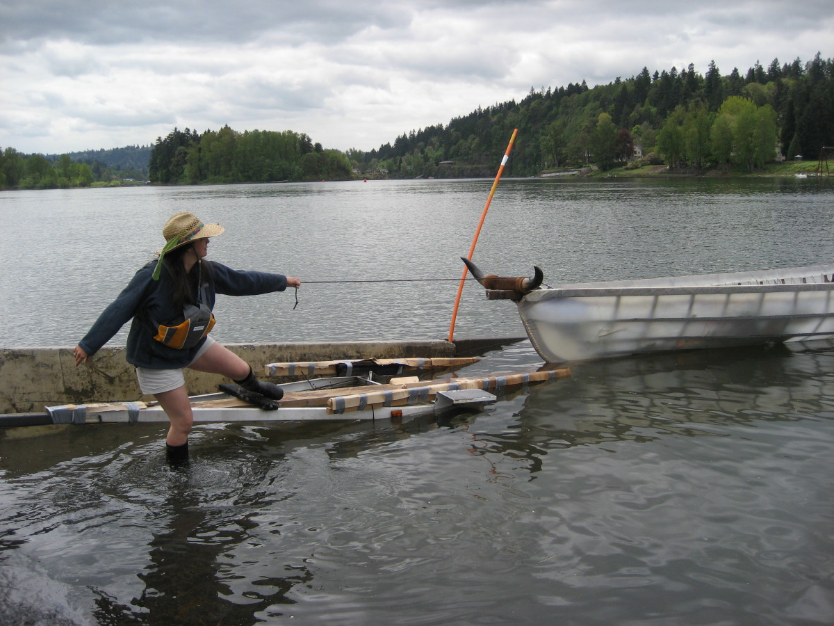 Guiding an Umiak onto its trailer (they're not as reluctant as cattle, but not much smarter either)