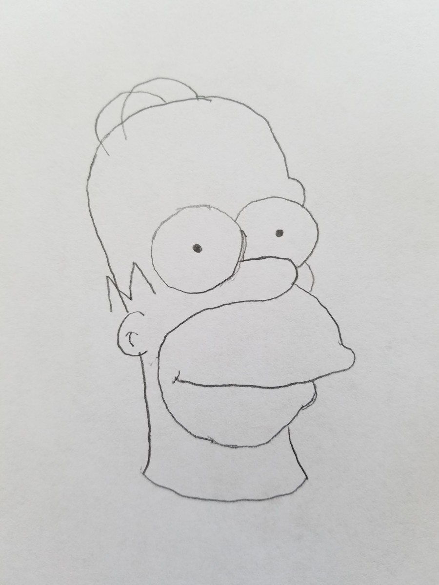 A penciled rough sketch of our Bootleg Homer Simpson is perfect for what we need to make it stand out. Take another pencil and add wacky things to your bootleg homer. Make his hair float or his eyeballs look like a flies eyes. Add whatever you want.