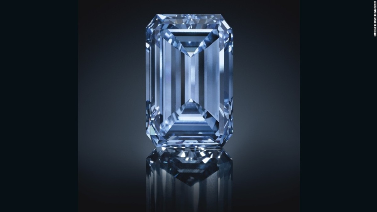 "The world's largest blue diamond, an extremely rare gem known as ""The Oppenheimer Blue"", sold for $57.5 million at auction. The most expensive diamond ever."
