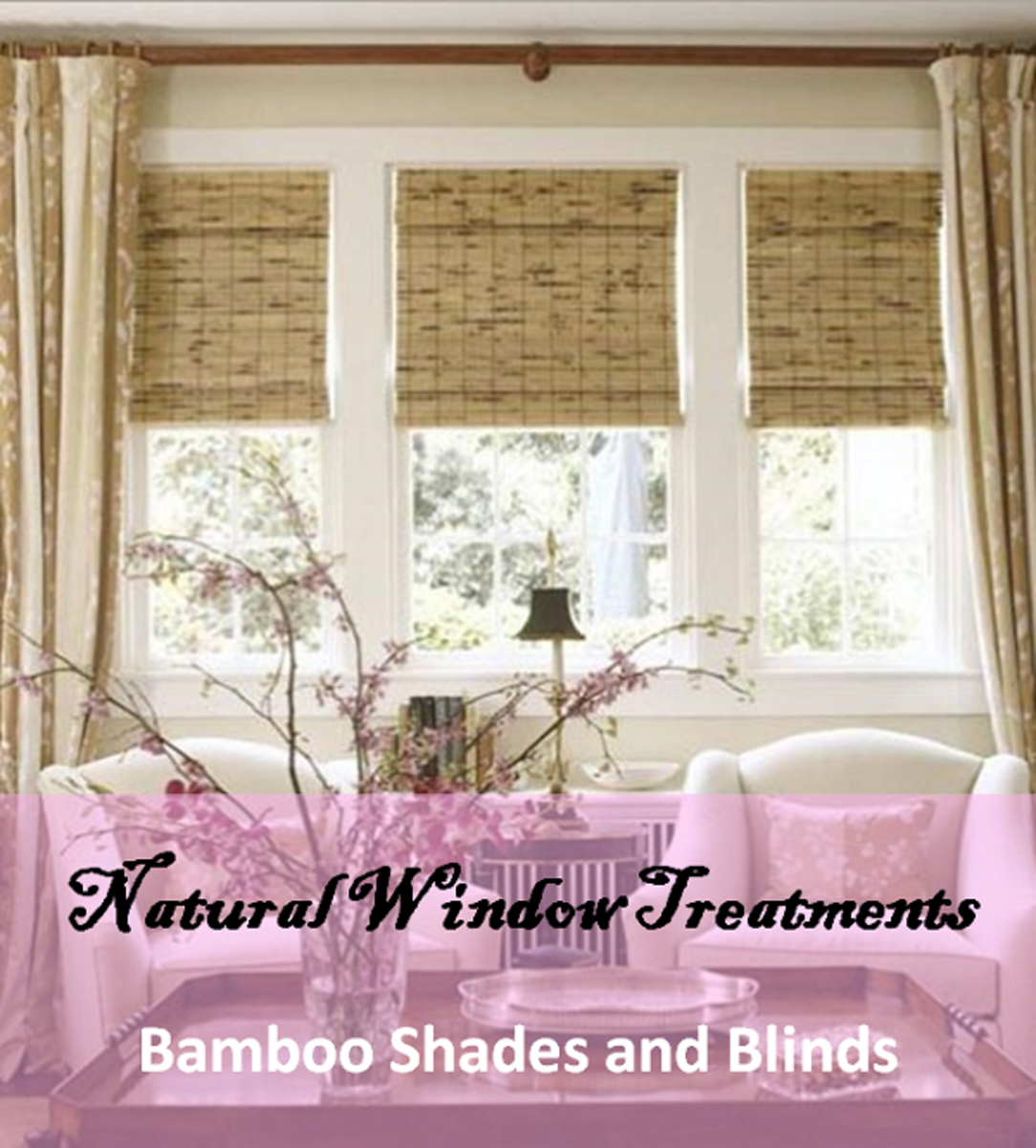 Bamboo roll-up shades come in natural warm colours, like the ones in this picture, but they can also come bleached, stained, or dyed to other colours like blue, red, brown, and black.