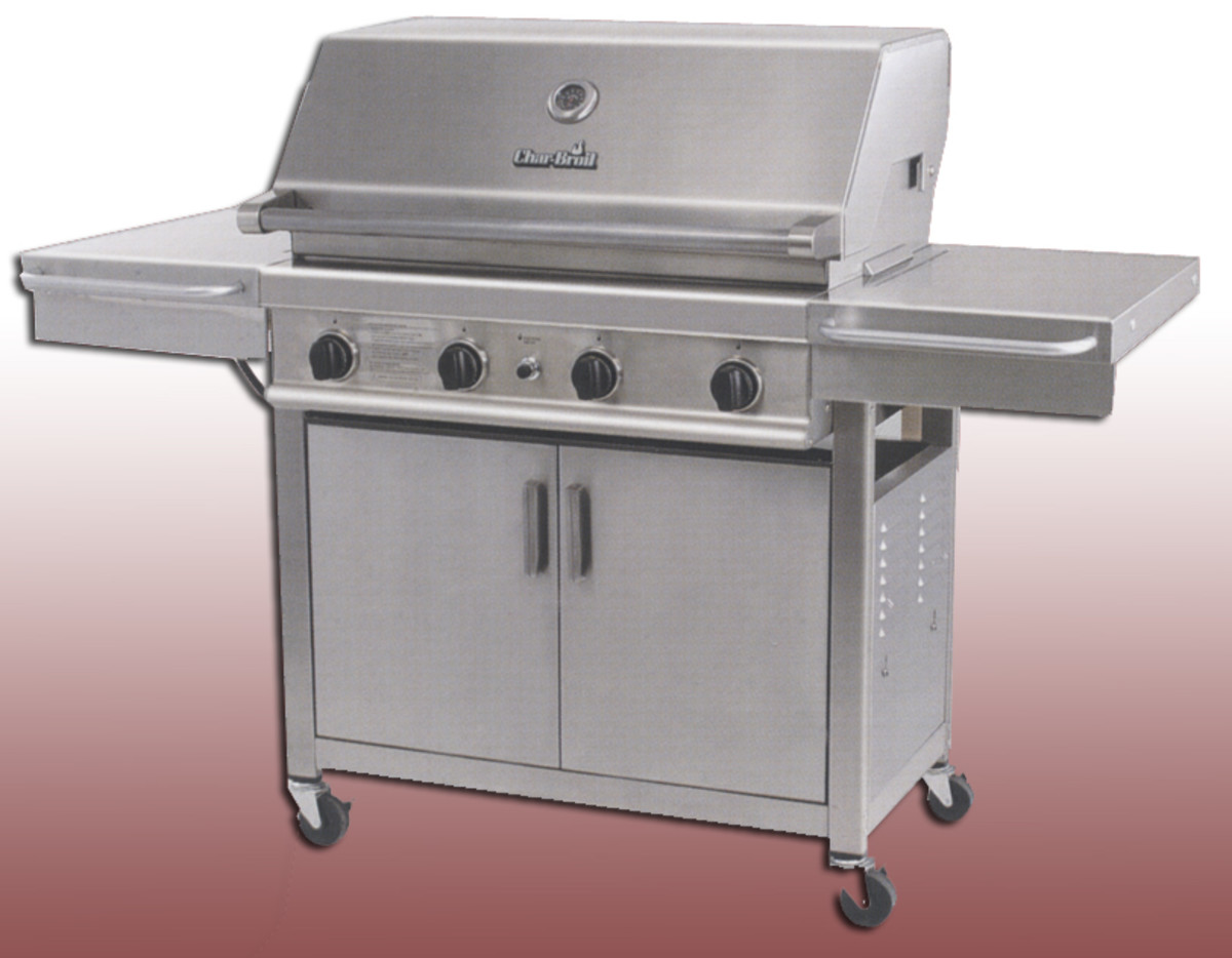 Charbroil stanless series model 4632326 with 4 cast burners at 60,000 BTU.