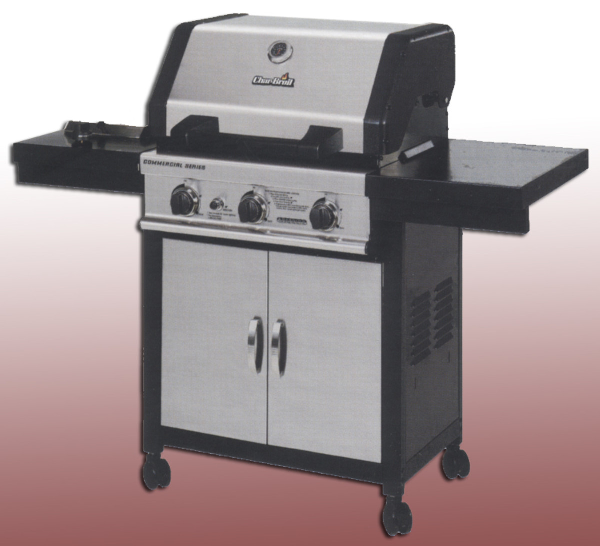 Charbroil commercial series 4632215 with 45,000 BTU, 3 cast burners, side burner, electronic ignition, 99 year warranty and over 800 sq. in. of barbecuing space.  Not bad for a couple hundred dollars.