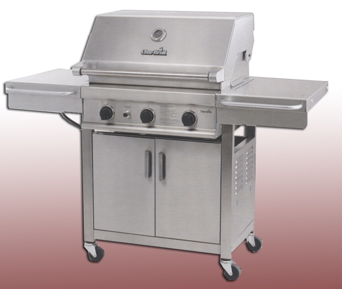 Charbroil stainless series model 4632321 with 3 cast burners, double wall stainess hood, towel bar and hooks, 45,000 btu and comes with a grill grate lifter.