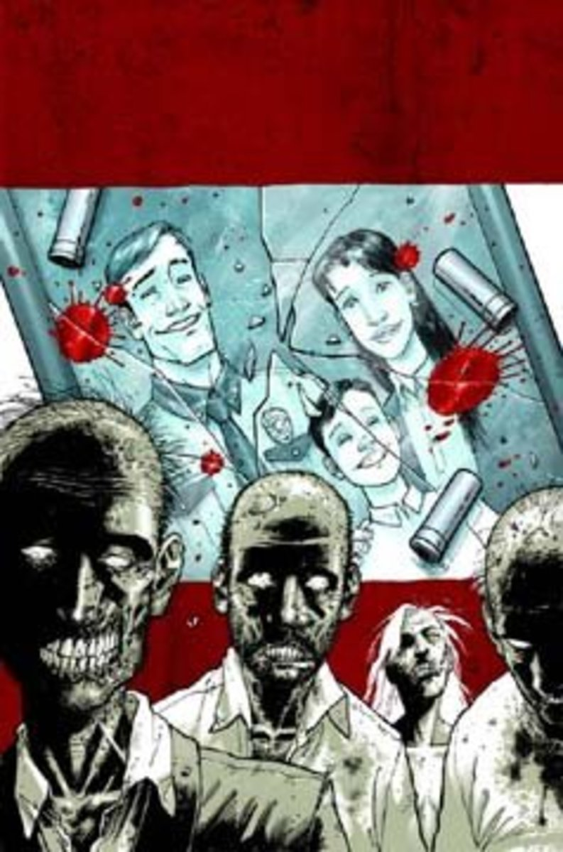 Cover art for The Walking Dead: Days Gone Bye trade paperback. Art by Tony Moore.