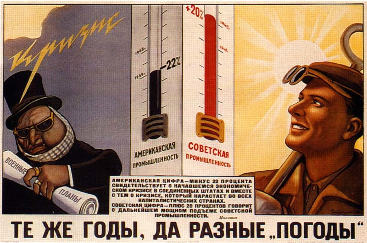 RUSSIAN SOCIALIST POSTER PROMISES THAT RUSSIA WILL FAR OUTDO THE CAPITALISTS IN AMERICA