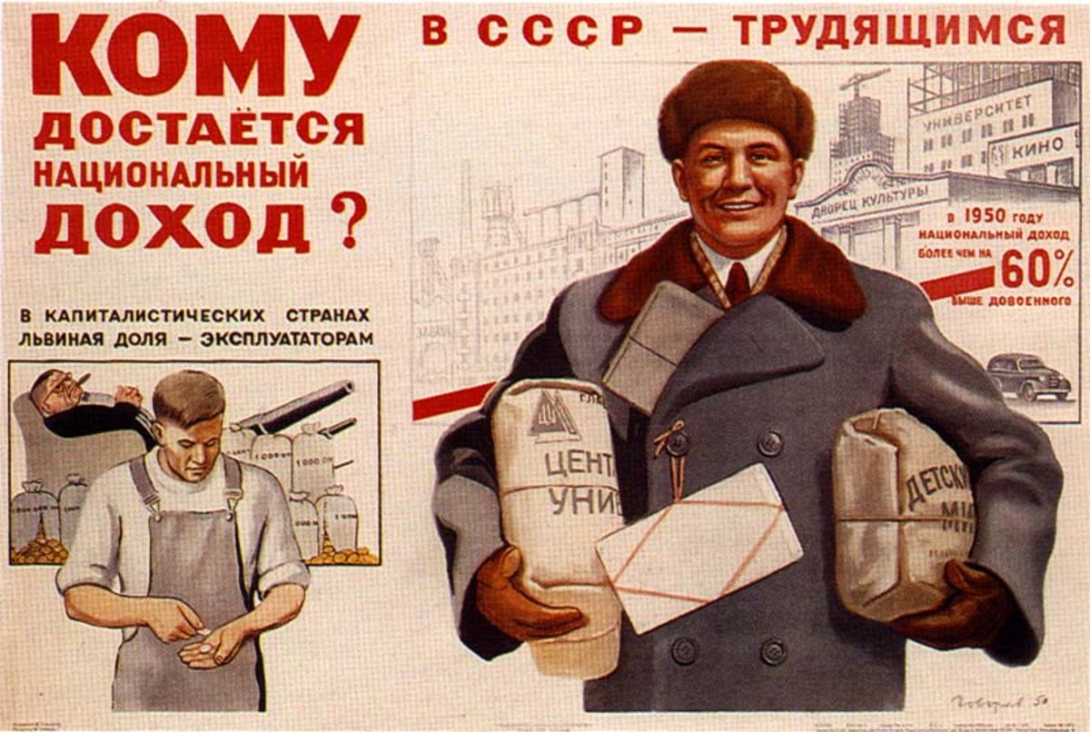 SOCIALIST POSTER IN RUSSIA SAYS THAT UNDER CAPITALISM THE EXPLOITERS GET THE INCOME BUT UNDER SOCIALISM THE WORKERS GET THE INCOME