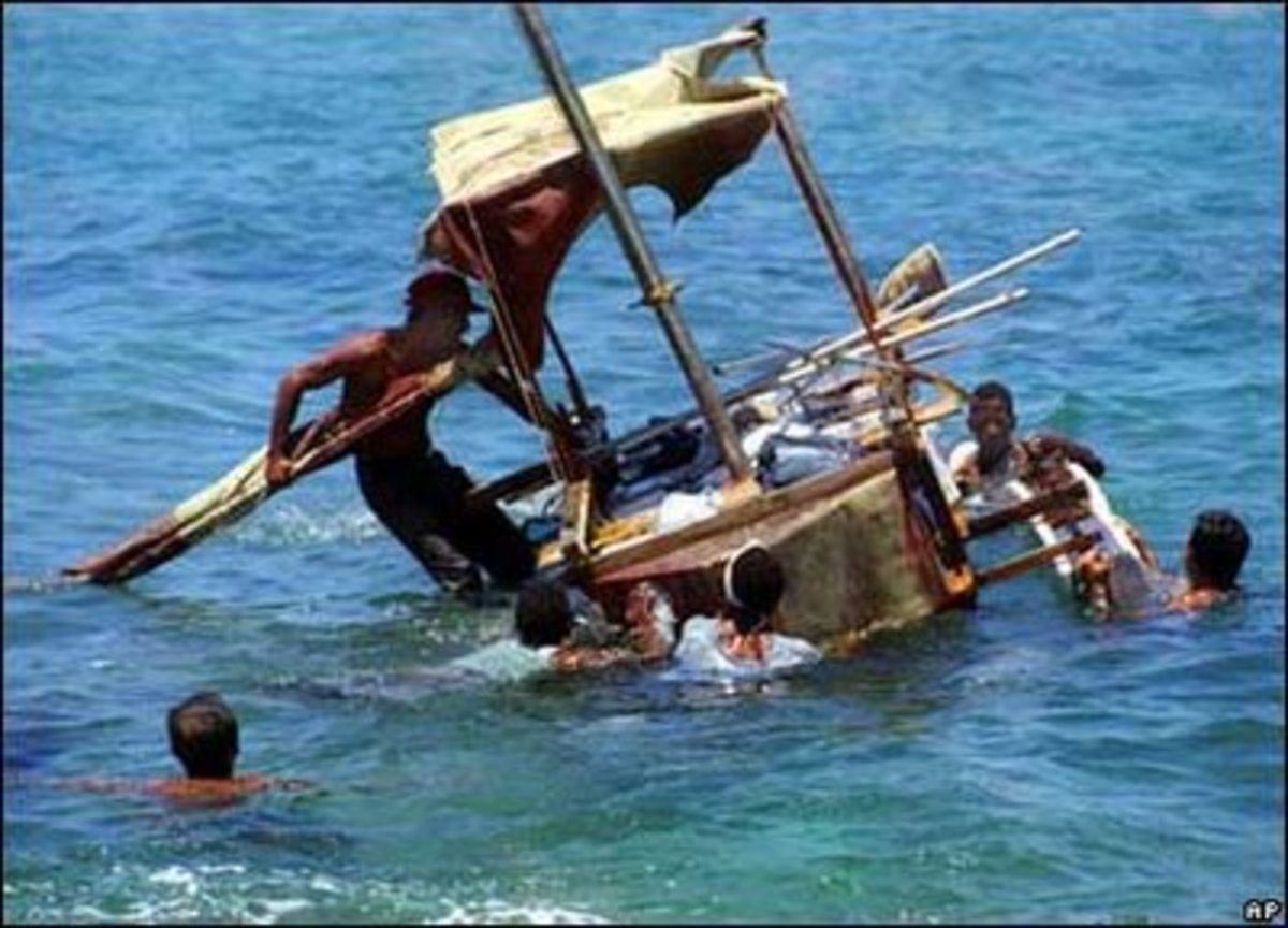 SOME CUBANS ODDLY ENOUGH WANTED TO LEAVE THE SOCIALIST PARADISE AND SAIL ACROSS SHARK INFESTED WATERS TO THAT EVIL CAPITALIST NATION CALLED AMERICA