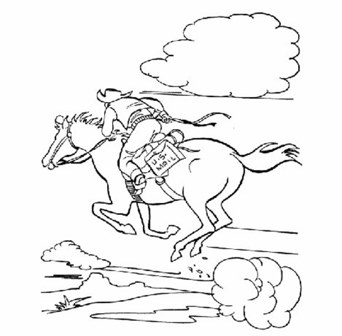 Free American History Pony Express Coloring Pages for Kids
