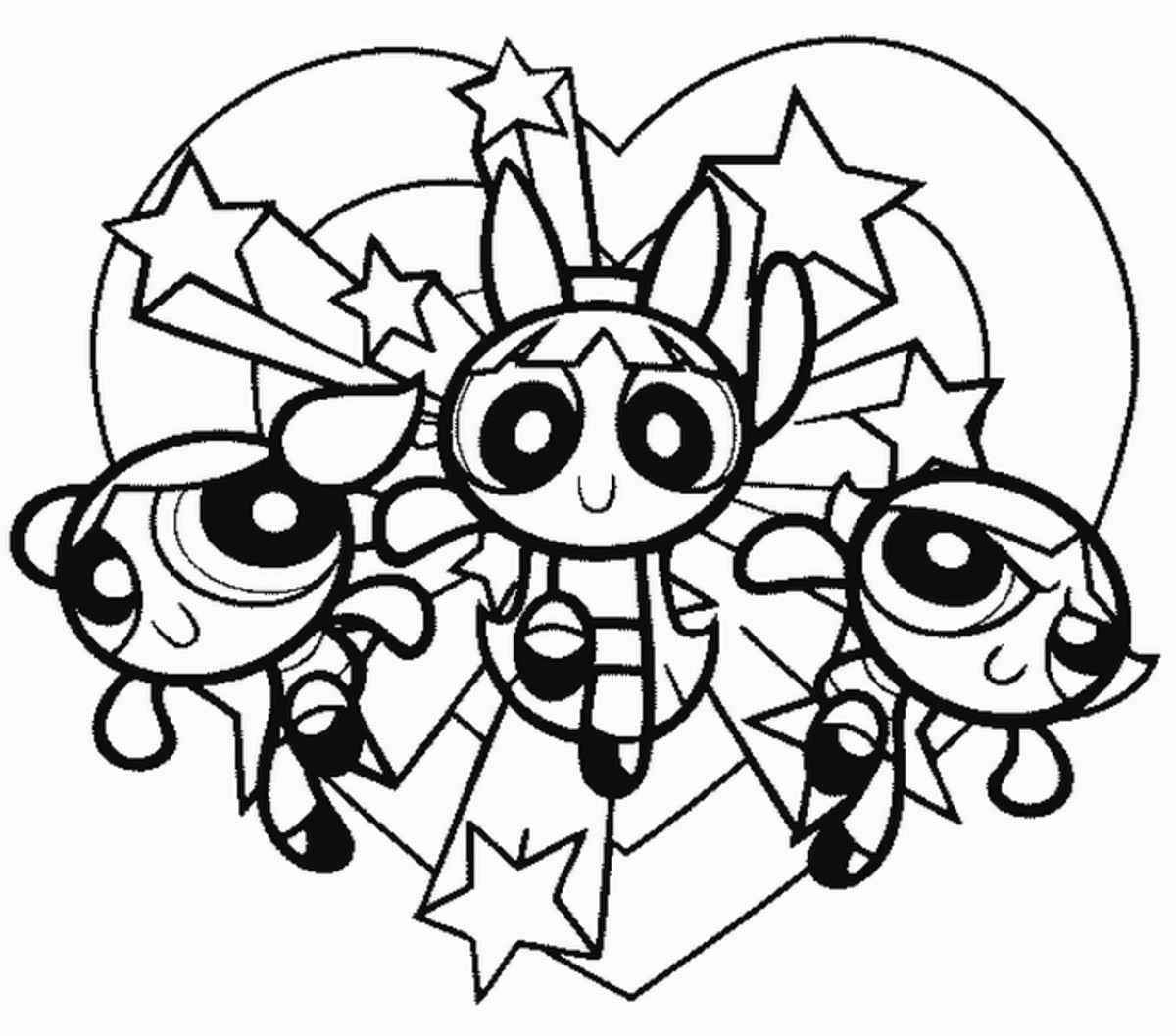 Powerpuff Girls Kids Coloring Pages Free Colouring Pictures to Print - on the move