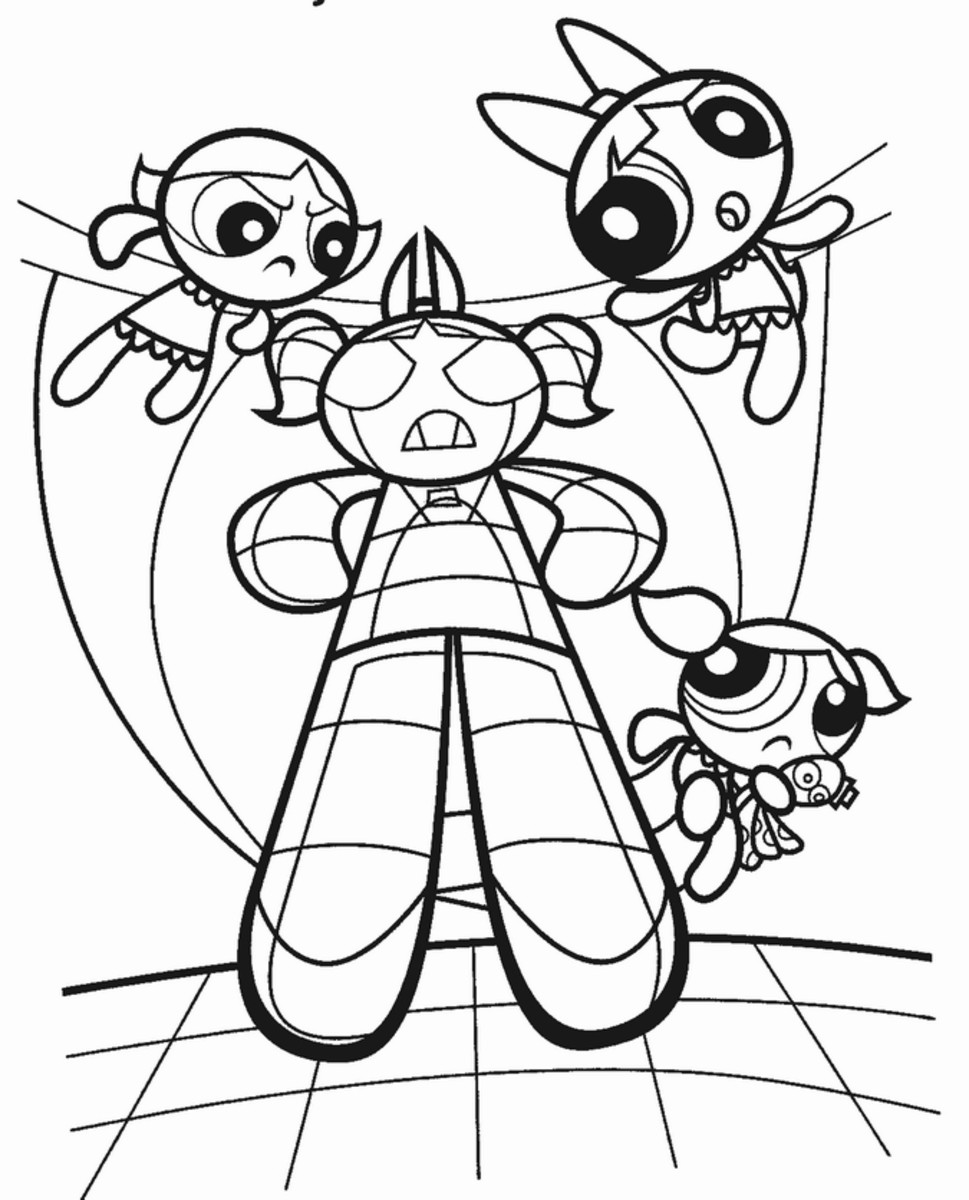 Powerpuff Girls Kids Coloring Pages Free Colouring Pictures to Print - fighting evil