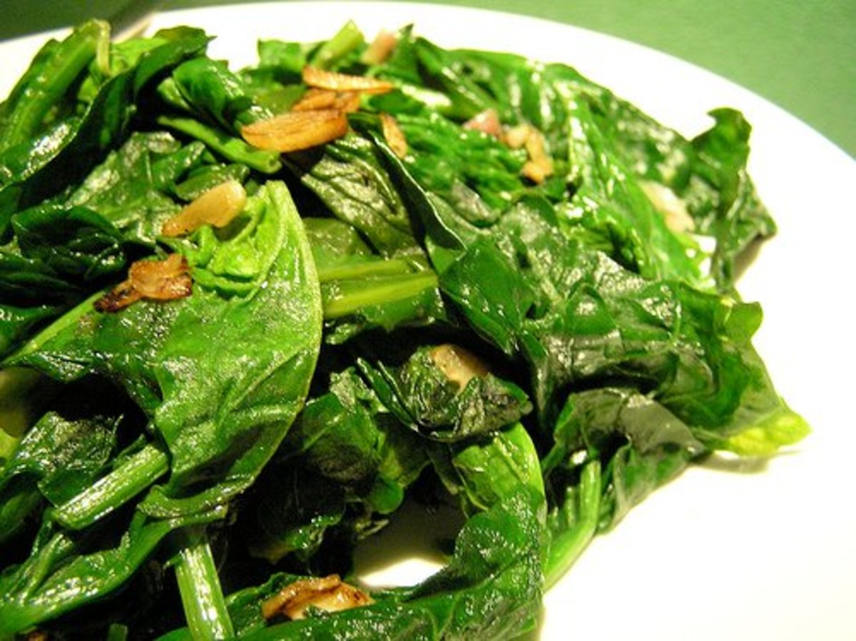 Spinach, a source of beta carotene and lutein