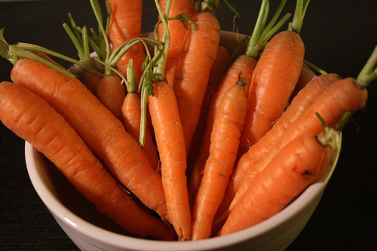 Carrots, a source of beta carotene