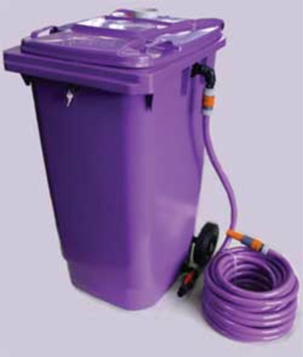 Greywater storage tank commercially available for under $500. notice the Lilac color!
