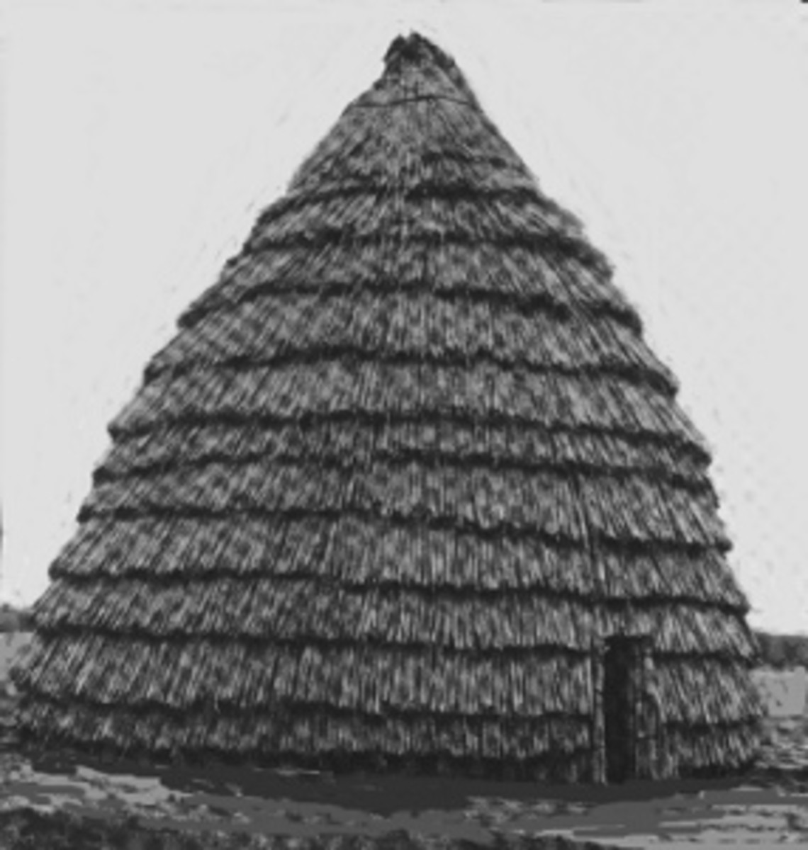 Reconstructed Caddo hut: Notice how much larger it is than the Wichita huts
