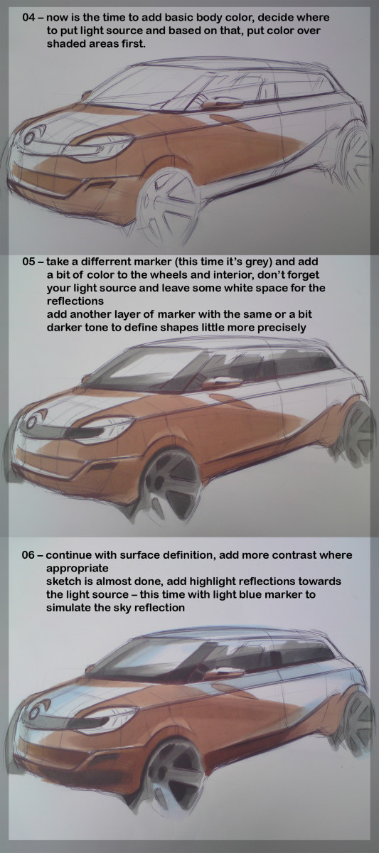 how to make a car sketch step by step