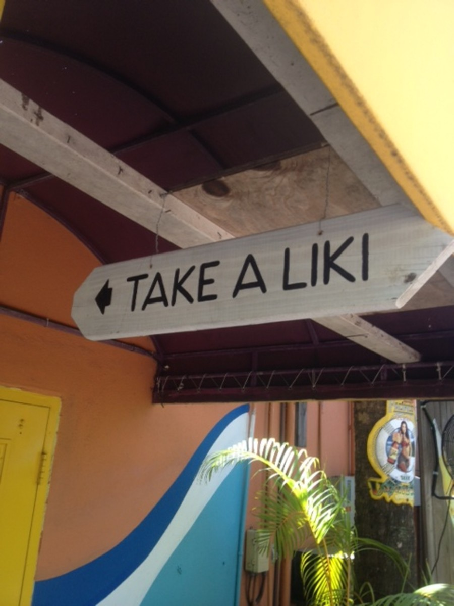 Tiki Bars ae not just for eating and drinking. They are also designed to entertain you. As implied here, every Tiki Bar must have a place for the patrons to take a Liki!