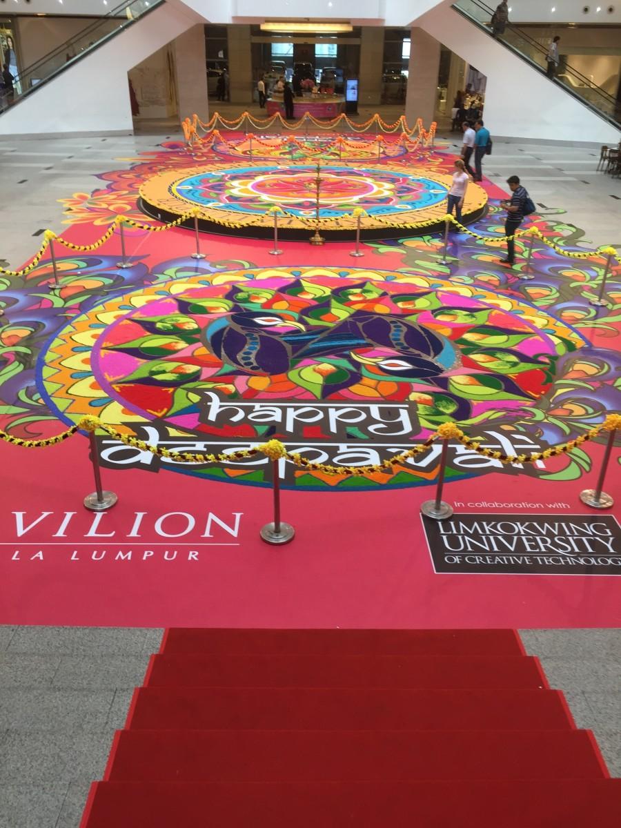 Kolam display for Deepaval
